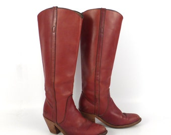Frye Boots  Vintage 1980s Stacked Heel Whiskey Burgundy Brown Leather Women's size 5 1/2
