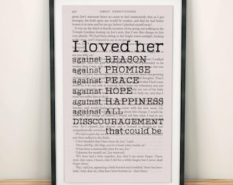 Great Expectations Book Page Art I Loved Her Against Reason Print