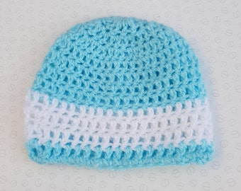 Handmade Blue With White Stripe Baby Crochet Hat / Beanie - Sizes Preemie Up To 24 Months