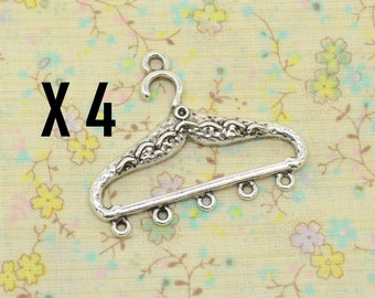 4 silver metal, closet clothing women clothes hanger charms
