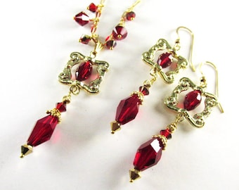 Swarovski Red Siam Square Necklace and Earring Set on 14k Gold Fill