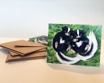 Baby Skunks Note Cards - Set of ten