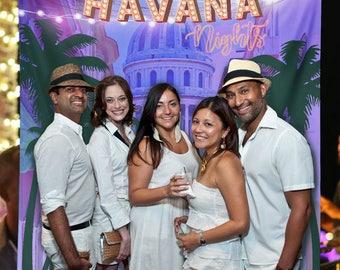 Havana Nights Backdrop, Havana Cuban Wedding, Cuban Wedding Engagement Decorations, Cuban Birthday Party Decorations // W-A60 AA3