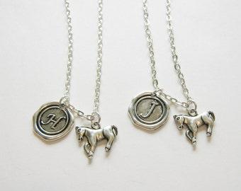2 Best Friends Necklaces, Horse Best Friends, Sisters Necklaces, Initial Necklaces, Best Friends Jewelry, Bff Horse Necklaces