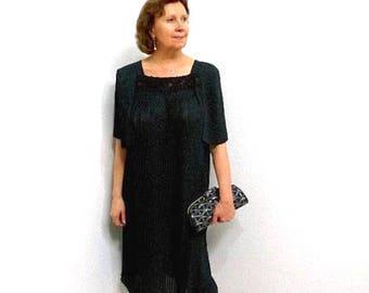 Black Chiffon Pleated Dress 60s Evening Party Cocktail 1960s vintage Dress M/L