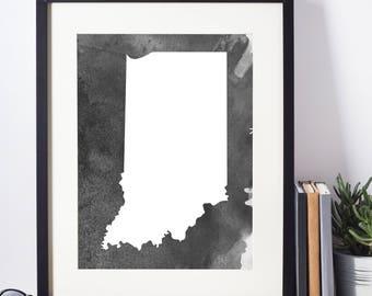 Home Decor, Wall Art, Watercolor, Indiana Black and White Art Print,  Indiana Wall Decor,   Digital Download, Modern Art