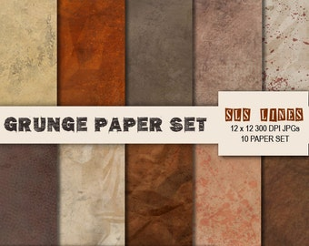 grunge splattered Digital Paper set, brown and beige torn paper pack, crumpled texture commercial use