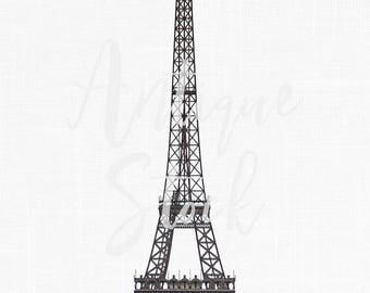 Digital Clip Art Download 'Eiffel Tower' Paris Illustration Image for Scrapbook, Card Making, Collages, Invitations...