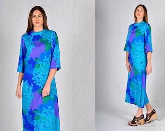 Liberty House Vintage Turquoise Boho Print Maxi Dress
