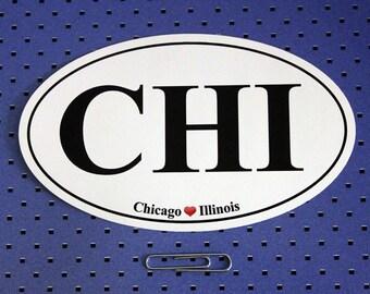 Chicago Illinois (CHI) Oval Bumper Sticker