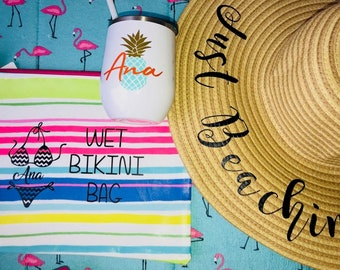 Wet Dry Bikini Bag; Bathing suit bag; Summer swimsuit bag; Personalized bikini bag; Wet Clothes bag; Summer bag; Beach bag; Wet bag; dry bag