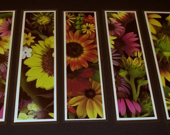 Bookmarks - sunflowers - botanical art - laminated bookmarks - sturdy bookmarks - flower designs - small gift - flower art - autumn theme