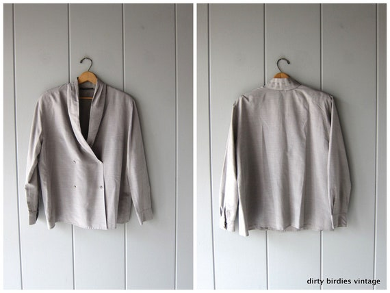 Louis Feraud Blouse | 80s Grey Button Up | Modern Secretary Shirt Minimal Poly Oxford Long Sleeve Shirt Women 14 XL Large