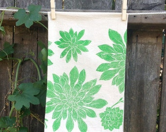 Succulents Flour Sack Tea Towel
