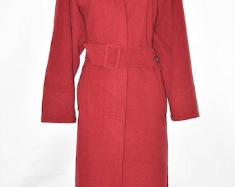 Vintage Red Wool Blend NOVELTI Long Loose Fit Button Women's Coat Jacket Size L