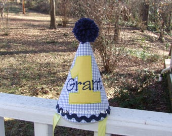Personalized Birthday Yellow Number Blue Gingham Hat