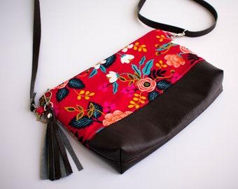 Floral Shoulder Bag, Floral Crossbody Purse, Small Sling Bag, Tassel Bag, Faux Leather Purse