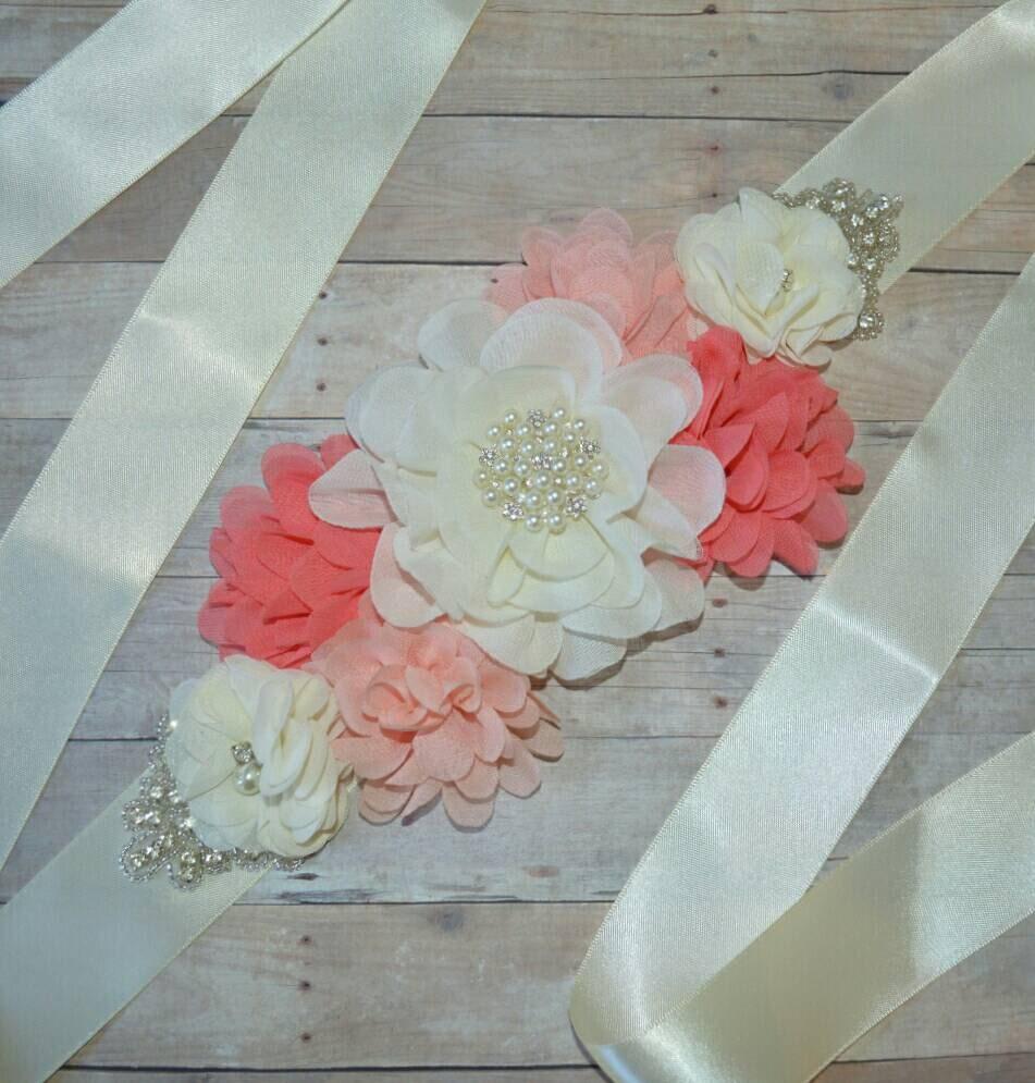 Maternidad: marco flores de raso y gasa cinta banda marco