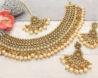 Antique Gold Indian Bollywood Necklace Set with Earrings, Tikka Headpiece  Bridal Wedding