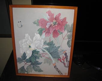 """DONALD ART CO. 1983 Jade Orientals By Lee Floral Print In Light Wood Frame 11 1/2"""" x 14 1/2"""""""