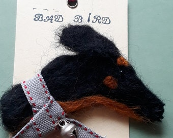 Doberman wool felt brooch