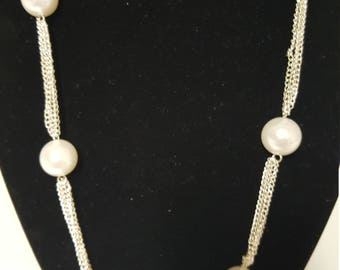 Pearl and silver necklace and earring set