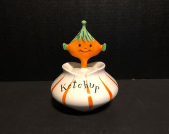 1958 Holt Howard Pixieware Ketchup Condiment Jar and Spoofy Spoon