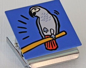 African Grey Parrot Metal Clip Magnet