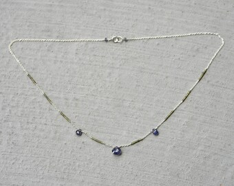 Iolite & Jade Sterling Silver Chain Necklace / Blue, Green Gemstone Necklace