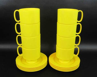 Set of 8 Mid Century Melmac Stacking Coffee Cups and Saucers in Yellow by Oneida Deluxe. Circa 1950's - 1960's.