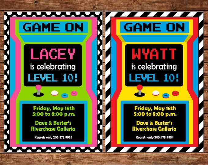Boy or Girl Invitation Video Game Gaming Arcade Birthday Party - Can personalize colors /wording - Printable File or Printed Cards