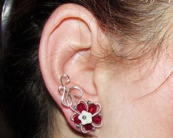 Red Elven Flowers earrings, Ear climbers, flower ear studs, flower earrings, wire ear studs, flower studs, dryad earrings, nature lover gift