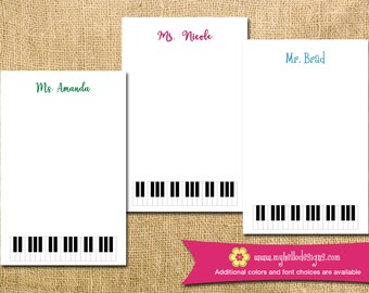 Personalized Piano Notepad - mom kid child children teacher to do list gift list pad custom personalize monogram holiday
