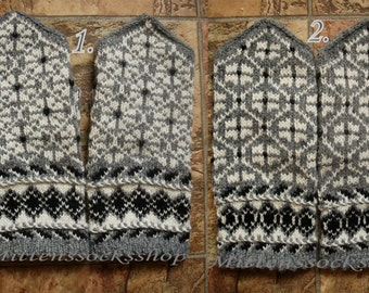 Gray White Wool Mittens Hand Knitted Mittens Hand Knitted Gray White Wool Gloves Warm Mittens Winter Gloves Latvian Mittens with Pattern