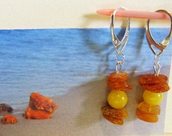 Natural Baltic amber Antique yellow  beads transparent brown raw stones Earrings  4.1 gr. silver 925 clasp