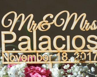 Custom cake topper  Mr. and Mrs.  custom cake topper Wedding Cake Topper groom and bride cake topper custom name and date cake topper