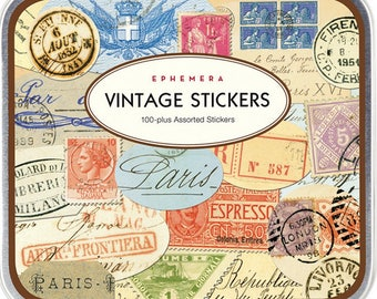 Stickers - Vintage International Ephemera by Cavallini & Co. - Postmarks, Letter Pieces, Postage Stamps - over 100 Stickers in Keepsake Tin