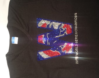 Chicago Cubs W World Series Champions woman's v-neck t shirt