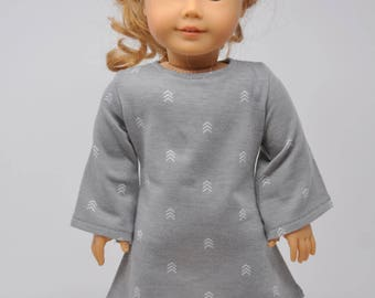 Gray Arrow Print  Bell Sleeve Dress     18 Inch Doll Clothes