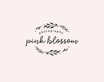 Black wreath logo - Pre made logo design - Typography logo - Cursive handwritten logo - Simple business logo