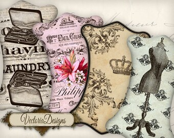 Ribbon and Lace Holders printable images instant download digital collage sheet VD0712