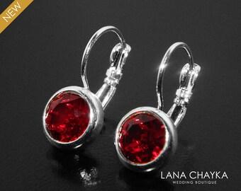 Red Silver Leverback Earrings, Swarovski Siam Red Earrings, Dark Red Wedding Earrings, Red Crystal Rhinestone Earrings, Mother of The Bride