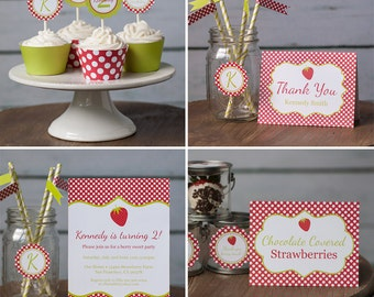 Printable Strawberry Birthday Party Package