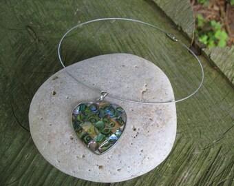 Multicolor Pearl Heart Necklace