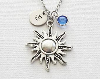 Sun Initial Necklace Sunshine Celestial Planet Large Sun Charm Jewelry Swarovski Birthstone Silver Personalized Monogram Hand Stamped