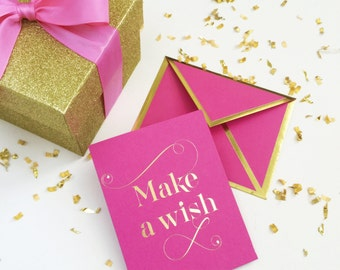 Make A Wish Fuchsia Card with Gold Foil Bordered Envelope