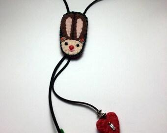 Bolo Tie Necklace Bunny Bolo Tie Cute bunny Lariat necklace bolo tie with rabbit face black bolo tie  Rabbit Bunny Hare Wild Southwestern