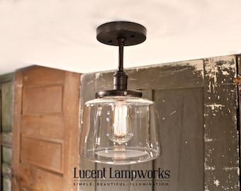 Clear Taper Glass Drum Shade Semiflush - 8 Inch