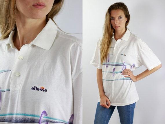 ELLESSE T-Shirt White 90s Ellesse Shirt Ellesse T-Shirt Ellesse Top Ellesse Vintage Top Vintage Ellesse T-Shirt Ellesse Polo Shirt Ellesse
