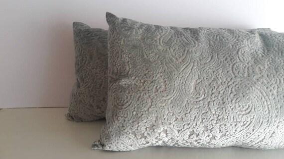 Pair of Damask Cushions Vintage Upholstery Fabric, Handmade Almond Green Velvet Cushions